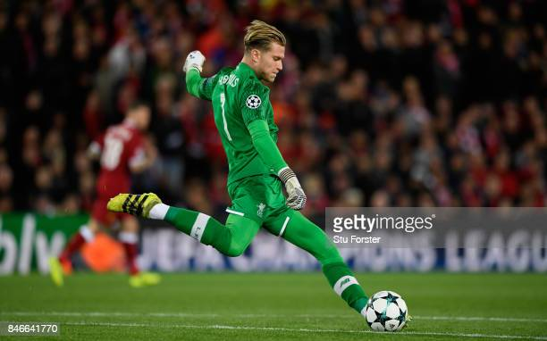 Liverpool goalkeeper Loris Karius in action during the UEFA Champions League group E match between Liverpool FC and Sevilla FC at Anfield on...