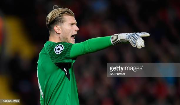 Liverpool goalkeeper Loris Karius reacts during the UEFA Champions League group E match between Liverpool FC and Sevilla FC at Anfield on September...