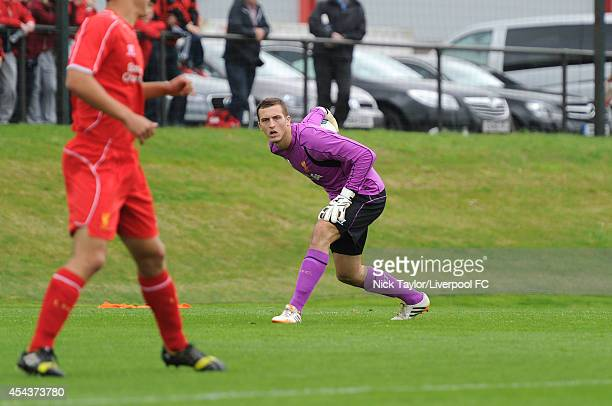Liverpool goalkeeper Ryan Fulton in action during the Barclays Premier League Under 18 fixture between Liverpool and Manchester United at the...