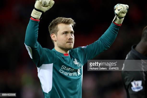 Liverpool goalkeeper Simon Mignolet celebrates