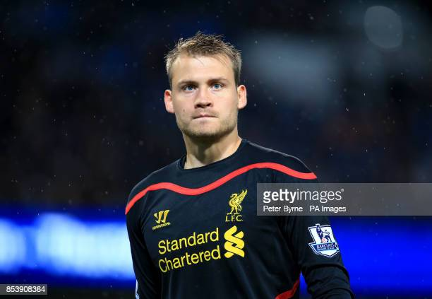 Liverpool goalkeeper Simon Mignolet during the Barclays Premier League match at the Etihad Stadium Manchester