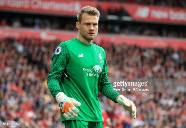 Liverpool goalkeeper Simon Mignolet during the Premier League match at Anfield Liverpool