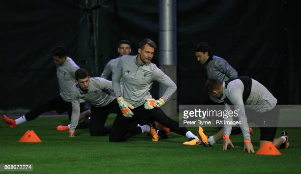 Liverpool goalkeeper Simon Mignolet during the training session at Melwood Liverpool