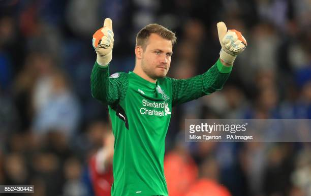 Liverpool goalkeeper Simon Mignolet gives the thumbs up after the final whistle of the Premier League match at King Power Stadium Leicester