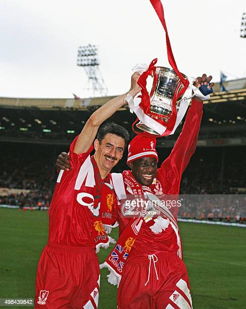 Liverpool goalscorers Ian Rush and Michael Thomas celebrate with the trophy after Liverpool had beaten Sunderland 20 to win the 1992 FA Cup Final at...