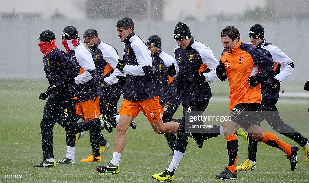Liverpool in action during a training session at Melwood Training Ground on February 13, 2013 in Liverpool, England.