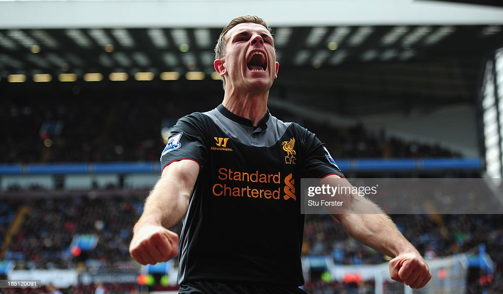 Liverpool <a gi-track='captionPersonalityLinkClicked' href=/galleries/search?phrase=Jordan+Henderson+-+Soccer+Player&family=editorial&specificpeople=4940390 ng-click='$event.stopPropagation()'>Jordan Henderson</a> celebrates after scoring the first Liverpool goal during the Barclays Premier League match between Aston Villa and Liverpool at Villa Park on March 31, 2013 in Birmingham, England.