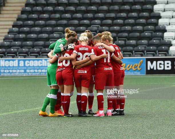 Liverpool Ladies before the start of a WSL 1 match between Liverpool Ladies and Manchester City Women at Select Security Stadium on June 3 2017 in...