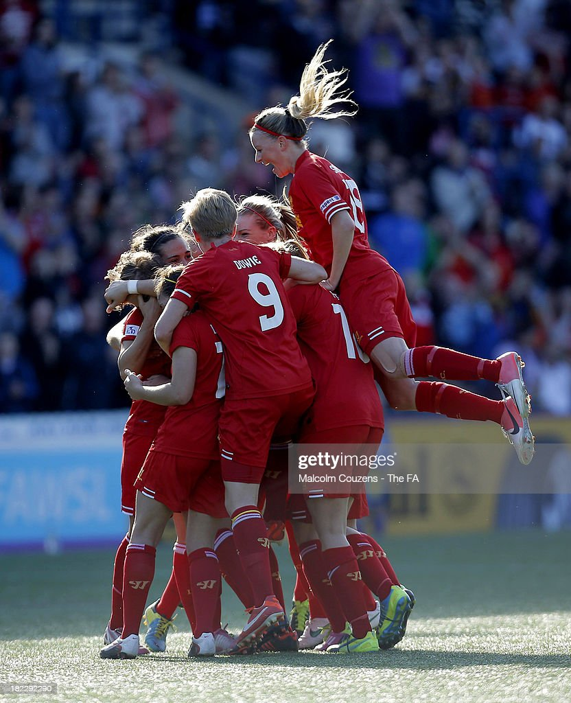 Liverpool Ladies celebrate following the second goal of the game scored by Katrin Omarsdottir during the Women's Super League match between Liverpool Ladies FC and Bristol Academy Women's FC at Halton Stadium on September 29, 2013 in Widnes, England.
