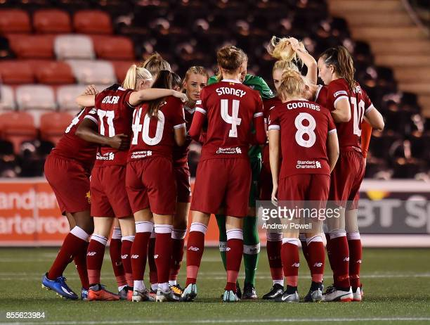Liverpool Ladies have a team hoodle during the Women's Super League match between Liverpool Ladies and Reading FC Women at Select Security Stadium on...