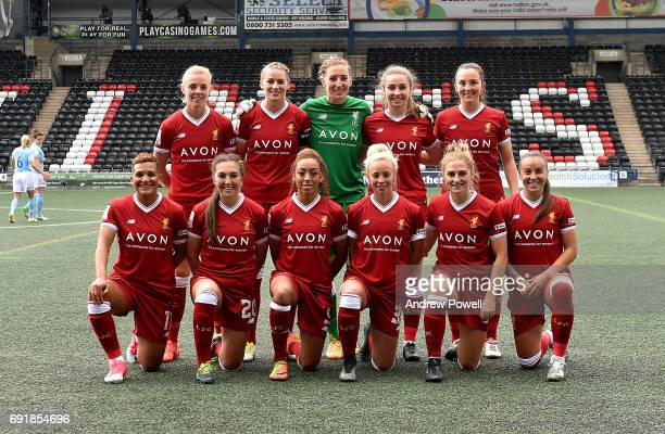 Liverpool Ladies line up before the WSL 1 match between Liverpool Ladies and Manchester City Women at Select Security Stadium on June 3 2017 in...