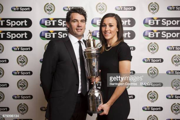 Liverpool Ladies Lucy Bronze receives the PFA Player Of The Year Award alongside BT Group Chief Executive Gavin Patterson during the PFA Player of...