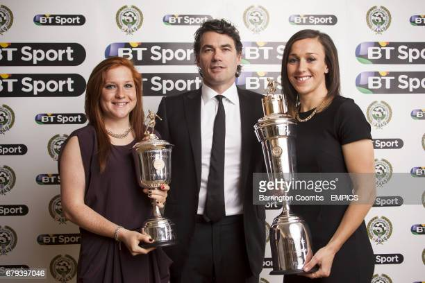 Liverpool Ladies Lucy Bronze with the PFA Player Of The Year Award and Liverpool Ladies Martha Harris with the PFA Young Player Of The Year Award...