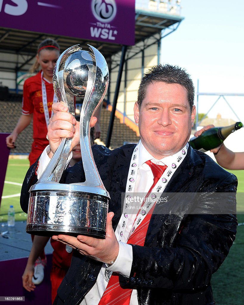 Liverpool Ladies manager Matt Beard celebrates winning the league after the FA Women's Super League match between Liverpool Ladies and Bristol Academy Women at the Halton Stadium on September 29, 2013 in Widnes, Cheshire, England.