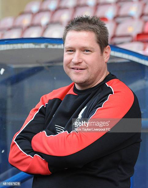 Liverpool Ladies manager Matt Beard during the Everton Ladies v Liverpool Ladies Continental Cup game at Select Security Stadium on July 23 2015 in...