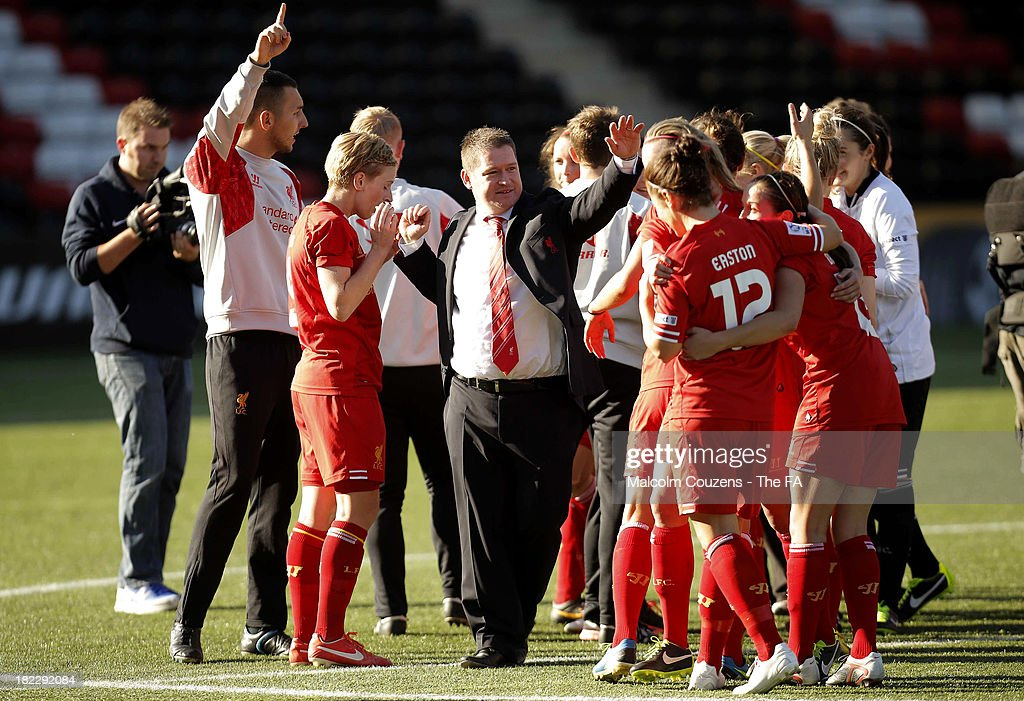 Liverpool Ladies manager Matt Beard joins in the celebrations after the Women's Super League match between Liverpool Ladies FC and Bristol Academy Women's FC at Halton Stadium on September 29, 2013 in Widnes, England.
