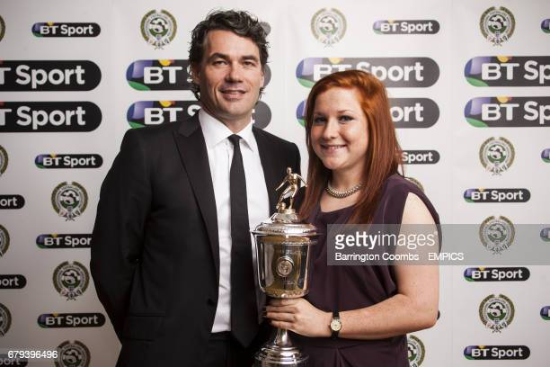 Liverpool Ladies Martha Harris receives the PFA Young Player Of The Year Award alongside BT Group Chief Executive Gavin Patterson during the PFA...