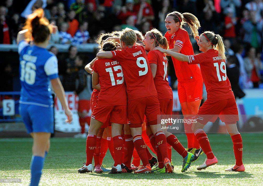 Liverpool Ladies players celebrate winning the league following the FA Women's Super League match between Liverpool Ladies and Bristol Academy Women at the Halton Stadium on September 29, 2013 in Widnes, Cheshire, England.