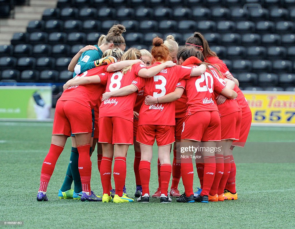 Liverpool Ladies players huddle together for a team talk before the Liverpool Ladies v Manchester City Women Women's FA Cup game at Select Security...