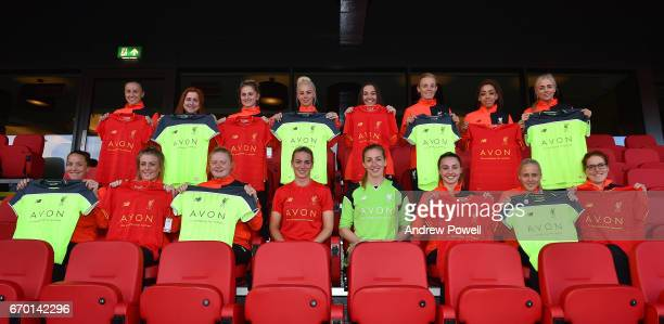 Liverpool Ladies show off new their shirt sponsor Avon at Anfield on April 18 2017 in Liverpool England