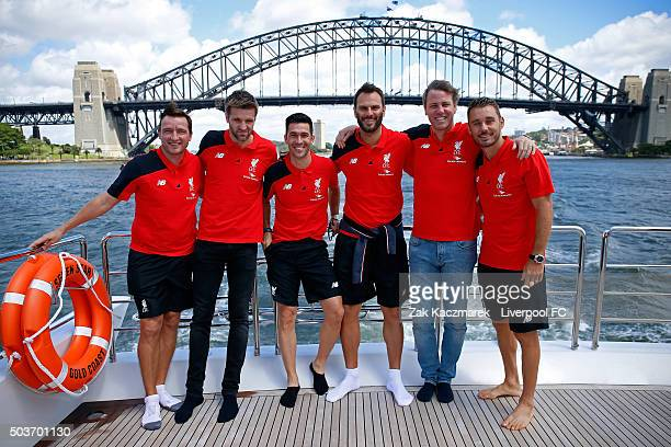 Liverpool Legends Vladimir Smicer Igor Biscan Luis Garcia Patrik Berger Stephane Henchoz and Fabio Aurelio pose during a cruise in Sydney Harbour on...