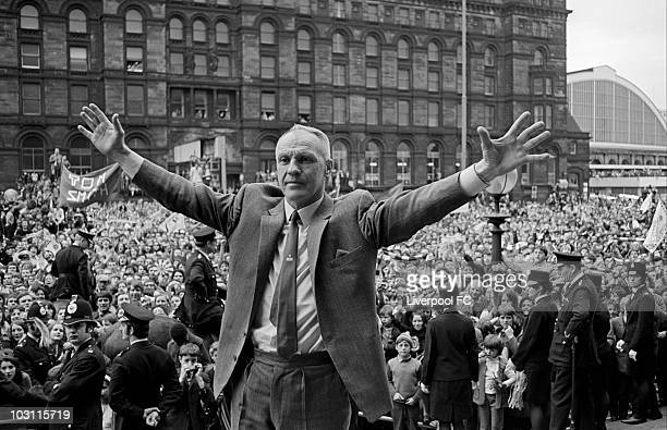 Liverpool manager Bill Shankly stands defiant in defeat at St George's Plateau as he greets the massive crowd of supporters following defeat in the...