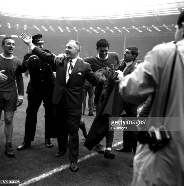Liverpool manager Bill Shankly who piloted his team to the League title last year and the FA Cup this season shows his joy as he leaves the Wembley...