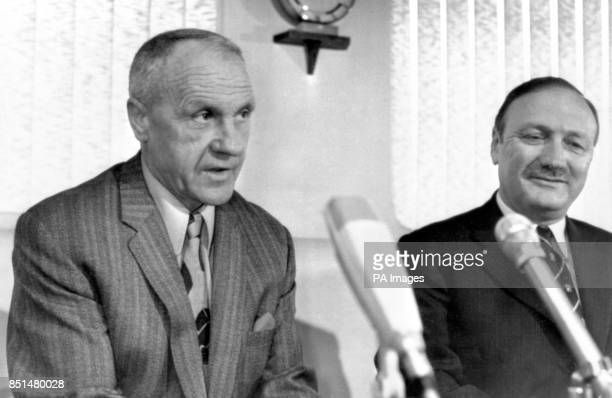 Liverpool manager Bill Shankly with club chairman John Smith as announces his retirement to the Press