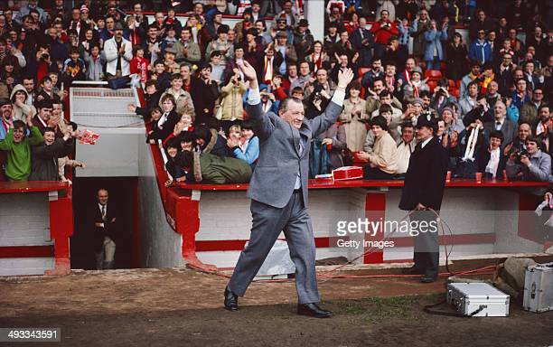 Liverpool manager Bob Paisley salutes the crowd after Liverpool had won the League Championship title in his last season in charge of the club after...