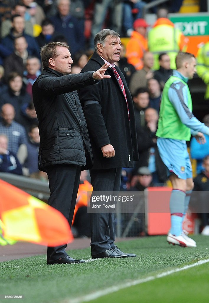 Liverpool manager <a gi-track='captionPersonalityLinkClicked' href=/galleries/search?phrase=Brendan+Rodgers+-+Soccer+Manager&family=editorial&specificpeople=5446684 ng-click='$event.stopPropagation()'>Brendan Rodgers</a> (L) and West Ham United manager <a gi-track='captionPersonalityLinkClicked' href=/galleries/search?phrase=Sam+Allardyce&family=editorial&specificpeople=214691 ng-click='$event.stopPropagation()'>Sam Allardyce</a> react during the Barclays Premier League match between Liverpool and West Ham United at Anfield on April 7, 2013 in Liverpool, England.