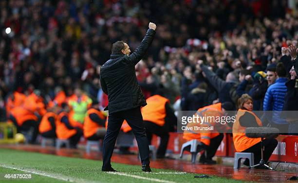 Liverpool manager Brendan Rodgers celebrates to the crowd after his teams 21 victory at the final whistle during the Barclays Premier League match...