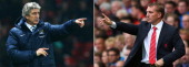 IMAGES Image Numbers 480541185 and 179184247 In this composite image a comparison has been made between Manuel Pellegrini manager of Manchester City...