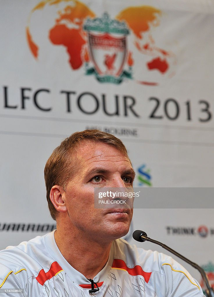 Liverpool manager Brendan Rodgers listens during a press conference in Melbourne on July 22, 2013. Rodgers said on July 22 he expects unsettled star Luis Suarez to stay with the club after the Uruguay striker arrived in Australia to join his teammates in 'great spirits'. AFP PHOTO / Paul CROCK