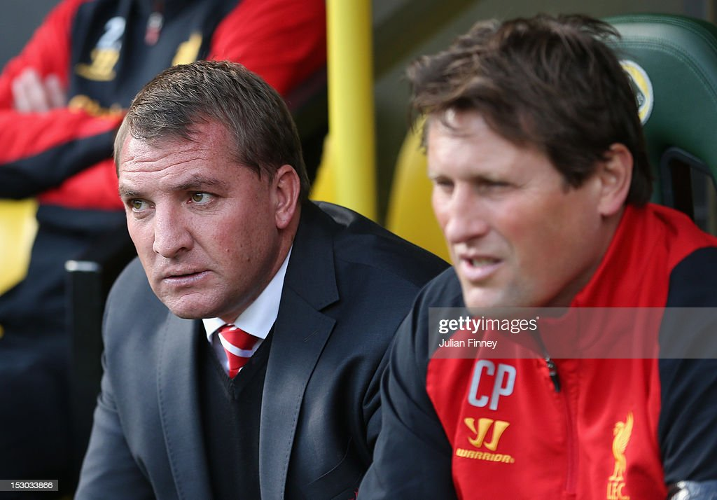Liverpool manager, Brendan Rodgers looks on during the Barclays Premier League match between Norwich City and Liverpool at Carrow Road on September 29, 2012 in Norwich, England.