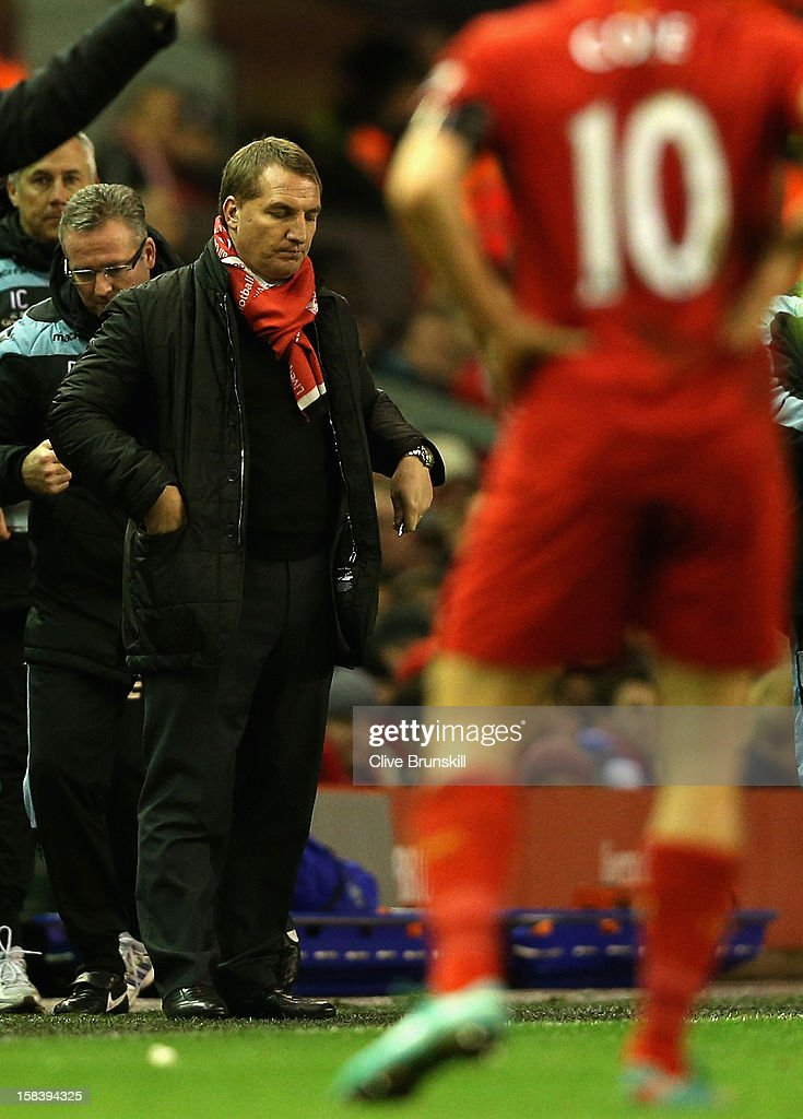 Liverpool manager <a gi-track='captionPersonalityLinkClicked' href=/galleries/search?phrase=Brendan+Rodgers+-+Soccer+Manager&family=editorial&specificpeople=5446684 ng-click='$event.stopPropagation()'>Brendan Rodgers</a> shows his dejection during the Barclays Premier League match between Liverpool and Aston Villa at Anfield on December 15, 2012 in Liverpool, England.