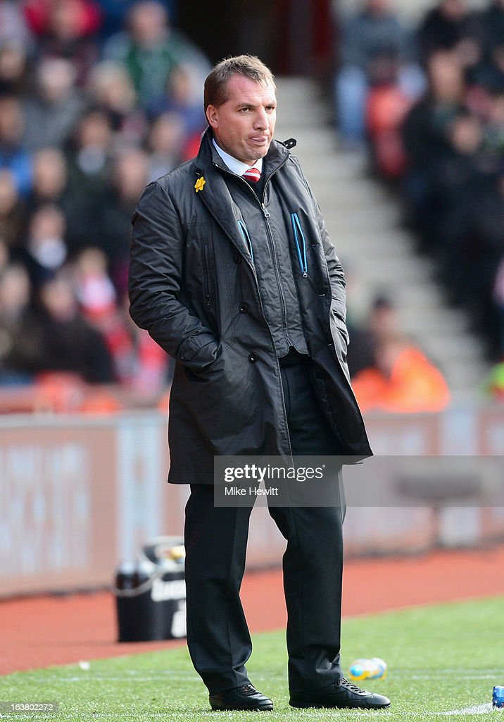 Liverpool manager Brendan Rogers looks on during the Barclays Premier League match between Southampton and Liverpool at St Mary's Stadium on March 16, 2013 in Southampton, England.