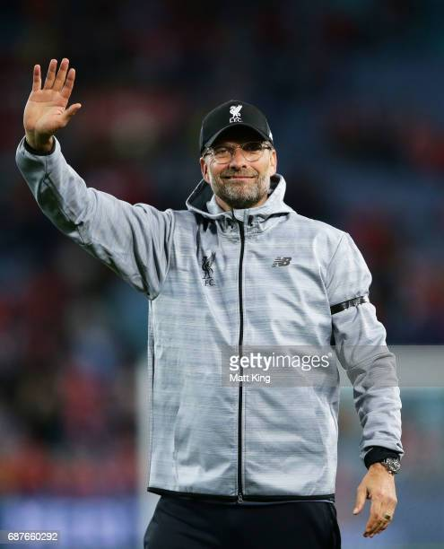 Liverpool manager Jurgen Klopp acknowledges the crowd after the International Friendly match between Sydney FC and Liverpool FC at ANZ Stadium on May...