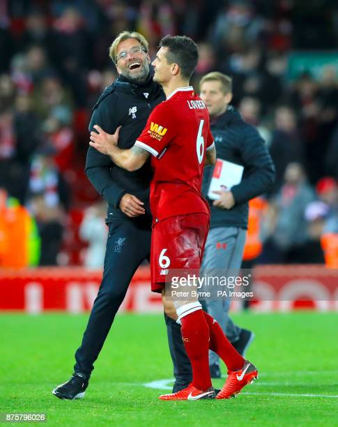 Liverpool manager Jurgen Klopp and Liverpool's Dejan Lovren celebrate after the final whistle of the Premier League match at Anfield Liverpool