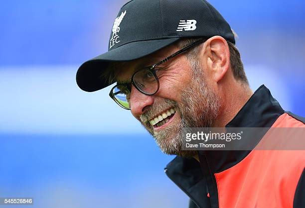 Liverpool manager Jurgen Klopp arrives for a PreSeason Friendly match between Tranmere Rovers and Liverpool at Prenton Park on July 8 2016 in...
