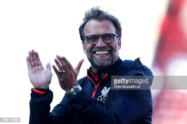 Liverpool manager Jurgen Klopp celebrates following the Premier League match between Stoke City and Liverpool at Bet365 Stadium on April 8 2017 in...