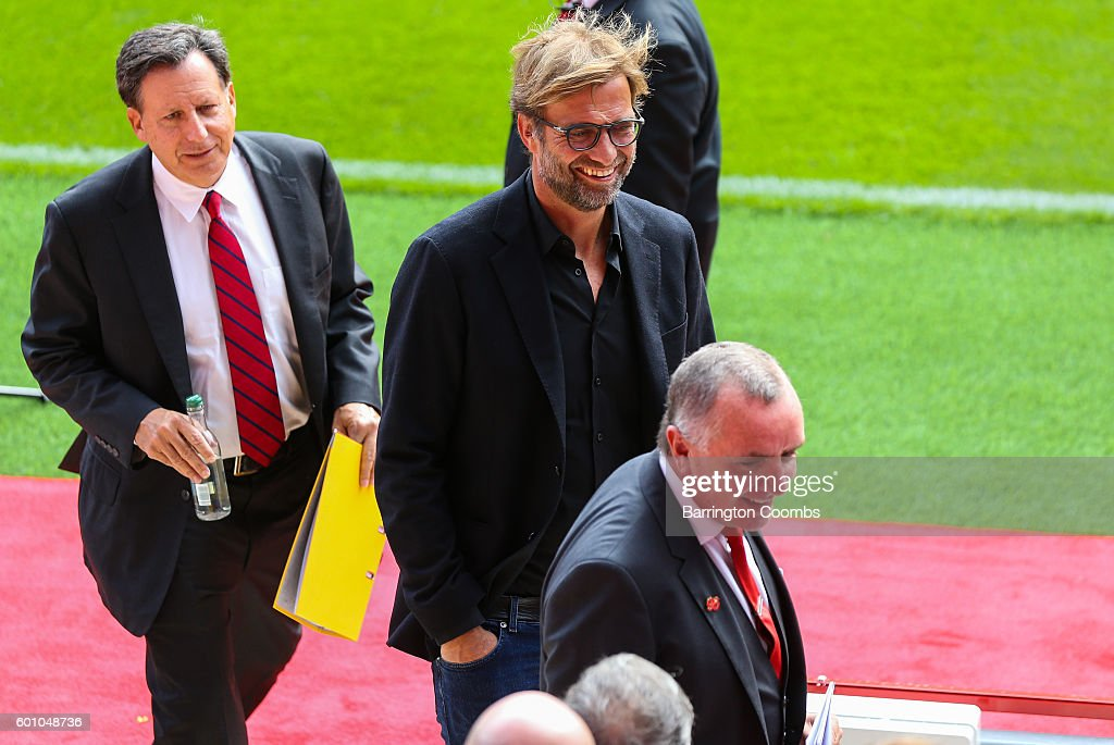 Liverpool manager Jurgen Klopp during the opening of the new stand and facilities at Anfield on September 9, 2016 in Liverpool, England.