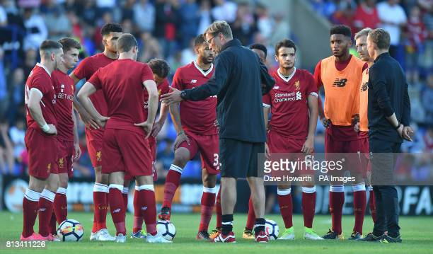 Liverpool manager Jurgen Klopp gives instructions to his second half team during the preseason friendly at Prenton Park Tranmere