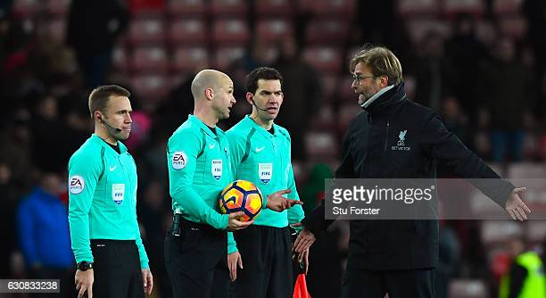 Liverpool manager Jurgen Klopp remonstrates with referee Anthony Taylor and his officials after the Premier League match between Sunderland and...