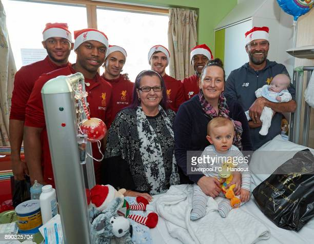 Liverpool manager Jurgen Klopp with players Joe Gomez Daniel Sturridge Lazar Markovic Andrew Robertson and Georginio Wijnaldum making their annual...
