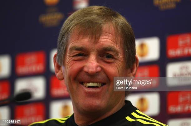 Liverpool manager Kenny Dalglish in good spirits during a press conference ahead of their UEFA Europa League Round of 16 second leg match against...