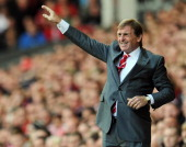 Liverpool manager Kenny Dalglish issues instructions during the Barclays Premier League game between Liverpool and Bolton Wanderers at Anfield on...