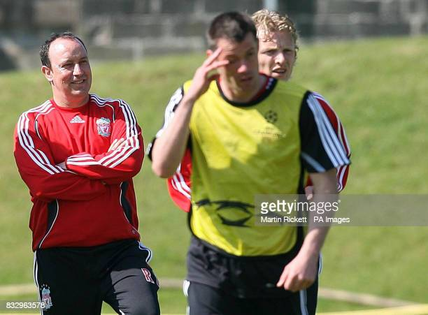 Liverpool manager Rafael Benitez Jamie Carragher and Dirk Kuyt during a training session at Melwood Liverpool