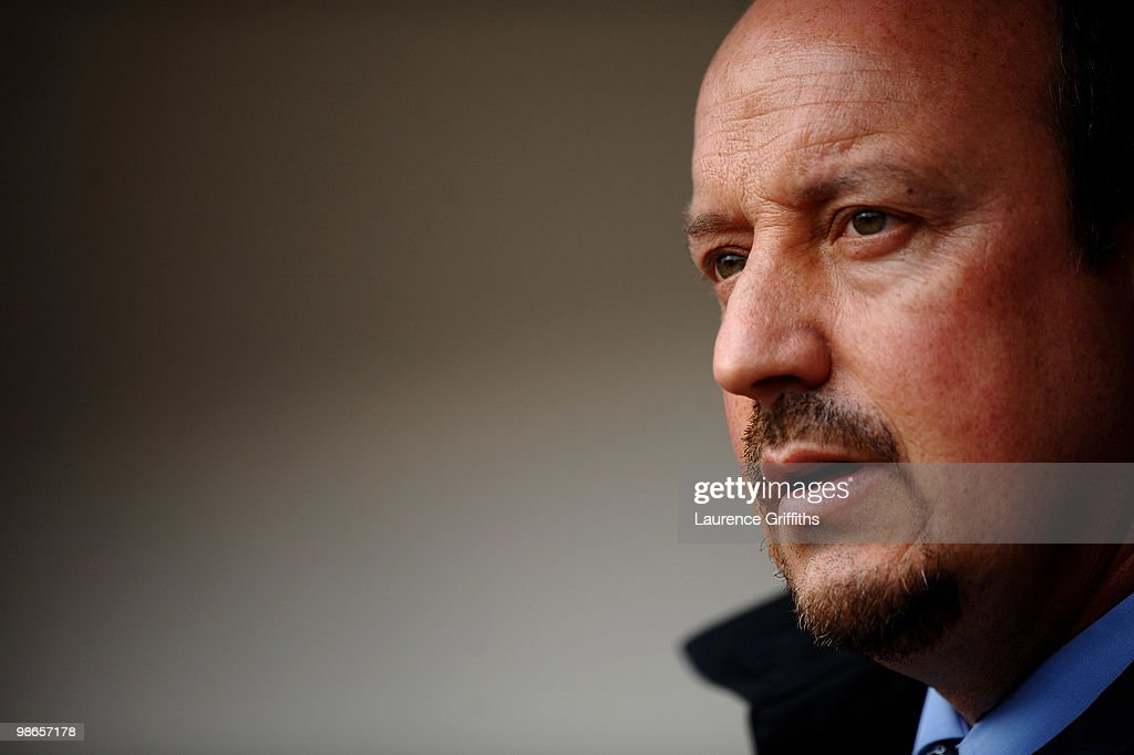Liverpool Manager Rafael Benitez looks on prior to the Barclays Premier League match between Burnley and Liverpool at Turf Moor on April 25, 2010 in Burnley, England.