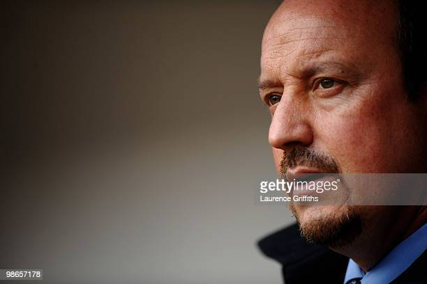 Liverpool Manager Rafael Benitez looks on prior to the Barclays Premier League match between Burnley and Liverpool at Turf Moor on April 25 2010 in...