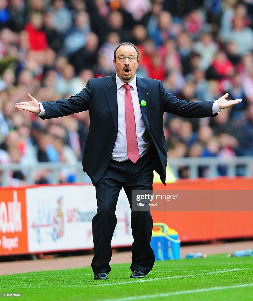 Liverpool manager Rafael Benitez reacts after a goal, that deflected off a beachball, went against them during the Barclays Premier League match between Sunderland and Liverpool at the Stadium of Light on October 17, 2009 in Sunderland, England.